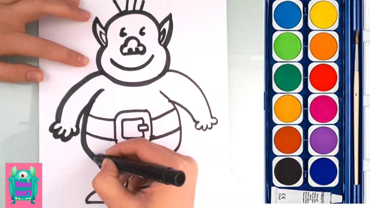 Dessin Tres Facile Comment Dessiner Et Colorier Un Ogre Dessin Pour Enfant Tt3 Youtube