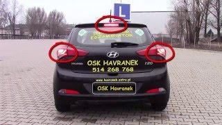 Hyundai i20 działanie świateł - egzamin na prawo jazdy kat. B Warszawa.