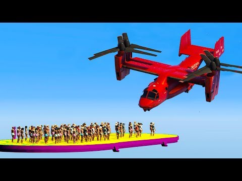 1000 PEOPLE VS ONE HELICOPTER! GTA 5 Funny Moments!
