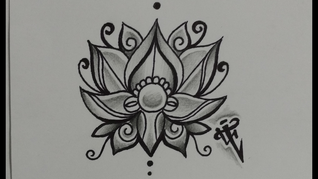 Diseño Flor De Loto Lotus Flower Design Nosfe Ink Tattoo Youtube