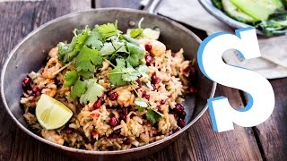 Speedy Shrimp & Pomegranate Rice Recipe - SORTED