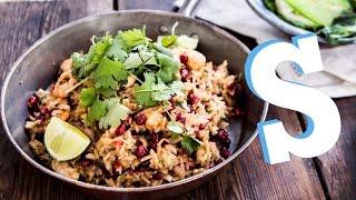 Speedy Shrimp & Pomegranate Rice Recipe - SORTED