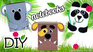 How To Make Animals Notebooks – DIY Dog, Panda And Koala Notebooks (with fasteners and bookmarks)