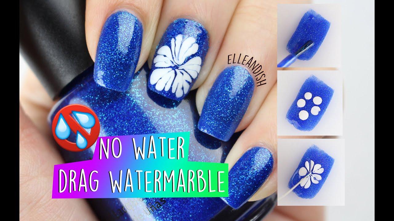 No Water Drag Watermarble Flower Nail Art Youtube
