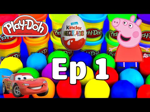 KINDER SURPRISE EGGS Disney Play Toys Peppa pig for kid - Play doh Disney Toys for Kids
