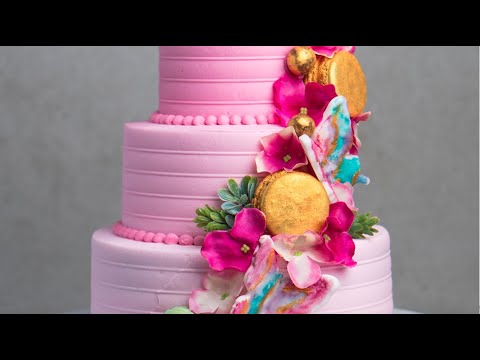 How To Make A 3 Tier Pink Loaded Cake Design Youtube