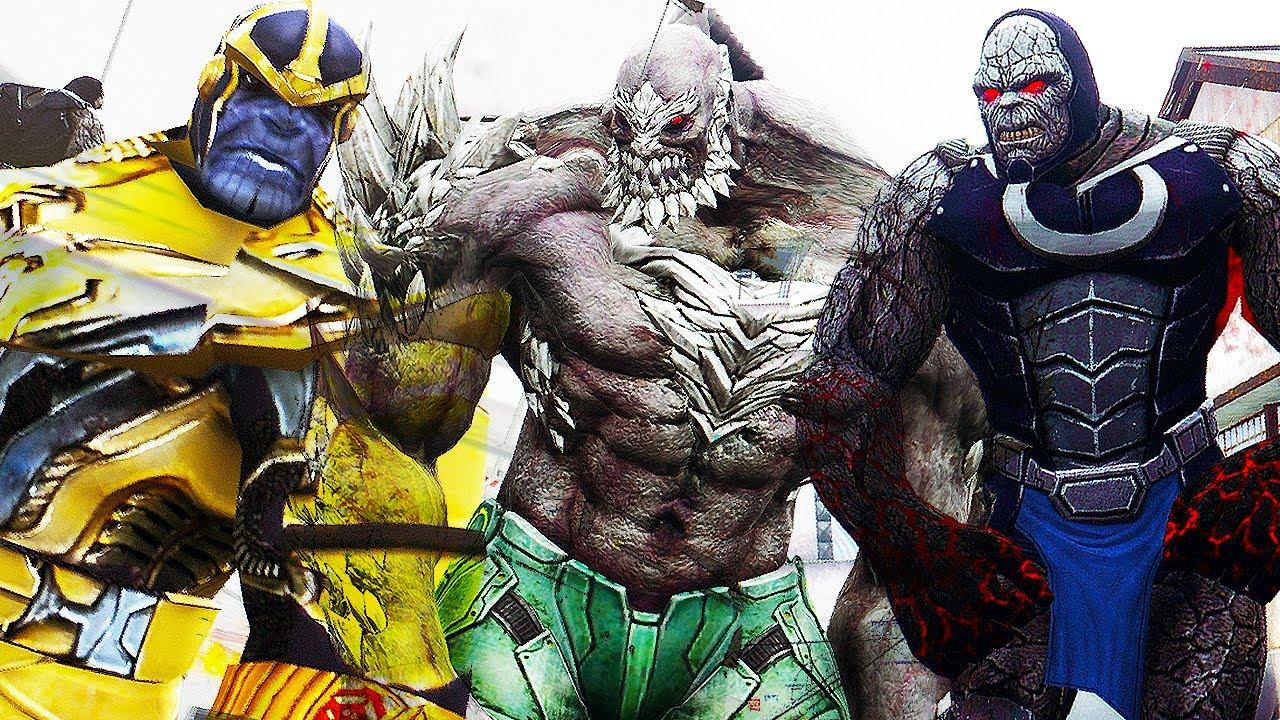 darkseid vs doomsday vs thanos epic battle youtube