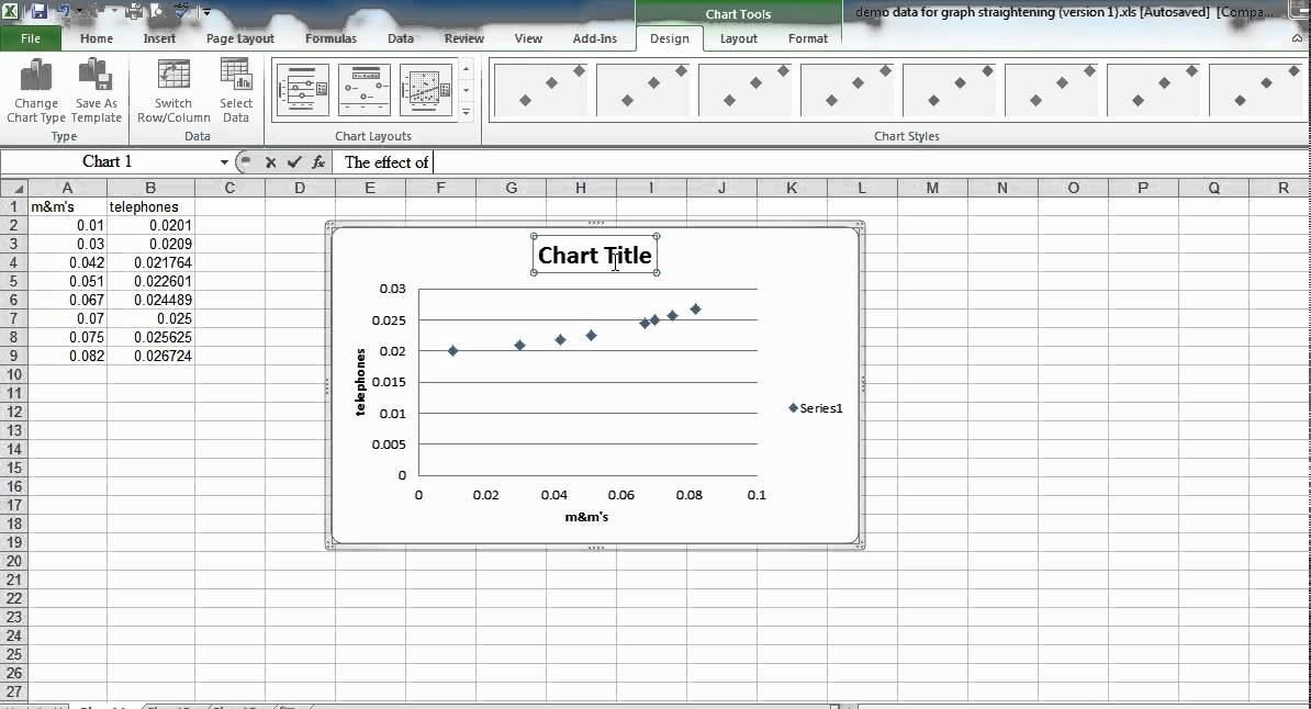 How to make a physics graph with Excel 2010mreofphysics - YouTube