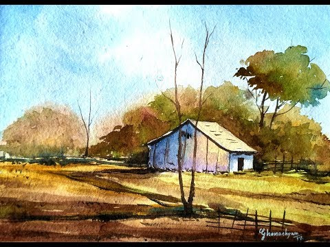How to paint a simple landscape in watercolor | Paint with David