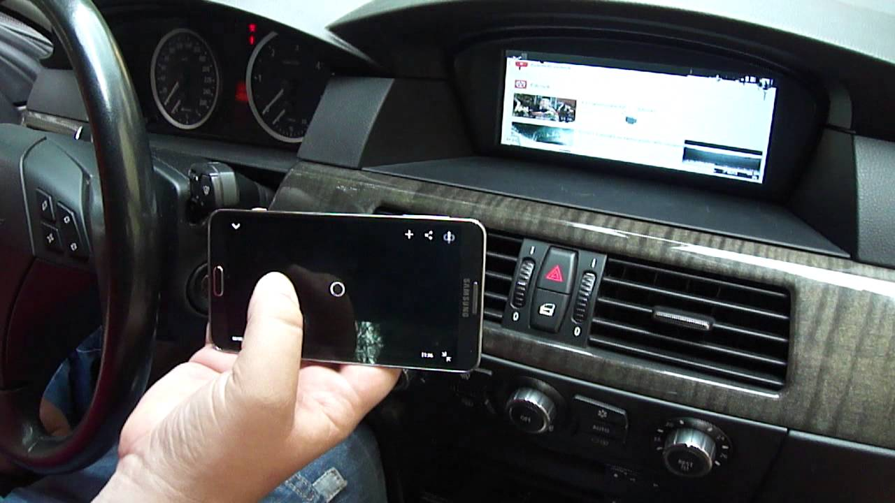 Bmw e60 e90 f10 f01 samsung s5 android mirroring telefon a kijelz n iphone air play www bmwtuning hu youtube