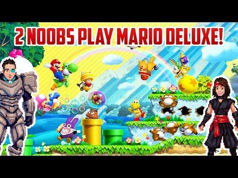 Super Mario Bros U Deluxe! Gameplay with 2 NOOBS! Part 1 |