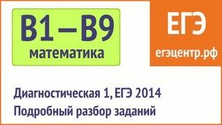 Диагностическая 1, Курсы ЕГЭ в Новосибирске. Решение B1-B9. (Восток без логарифмов)