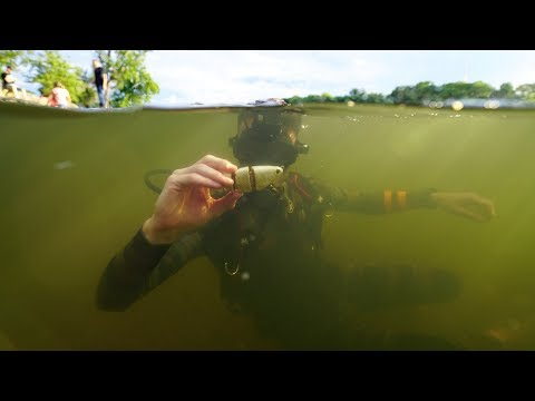 Thumbnail: Found $50 Fishing Lure, Cast Net and 4 Sunglasses in River! (Scuba Diving)