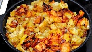 Жареная картошка(Чистим картошку, нарезаем, выкладываем на сковороду на которую налито масло, сковороду предварительно..., 2013-05-20T21:50:04.000Z)