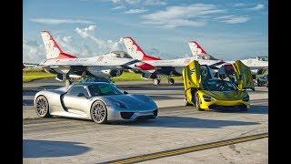 World's Best SUPERCARS VS FIGHTER JET Lamborghini Bugatti Veyron Porsche 918 Greatest Drag Race EVER