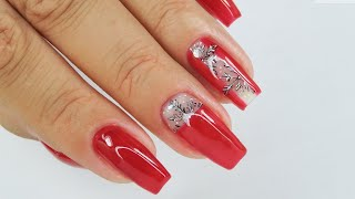 Snowflakes and red nails / tutorial / Sunflower Professional