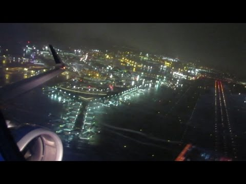 Night time Jetblue A321 flight #283 Takeoff from JFK to Orlando