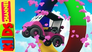 Learn colors with cartoon car stunts for kids and children