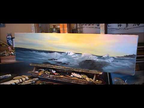 Démonstration de peinture à l'huile par Gérard VICTOIRE (sujet: marine imaginaire)