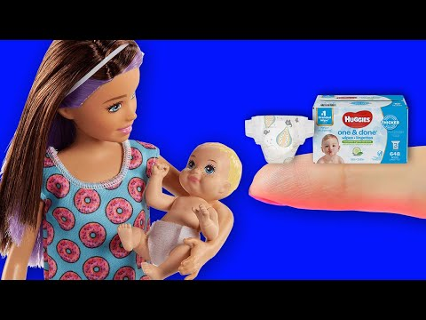 10 DIY BARBIE HACKS IDEAS ~ Miniature Nursery, Diaper, Crib, Water Bottle AND MORE!