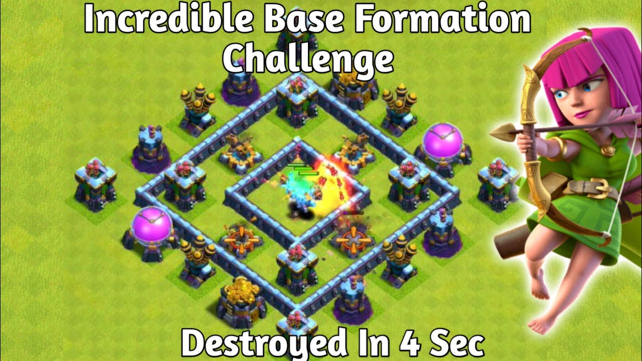 Incredible Base Formation Challenge On Coc||Troll Trap Vs Troops||Coc||Clash Of Clans||Epic Battle||