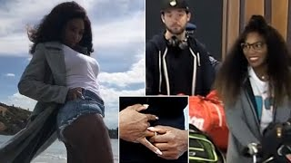 Serena Williams flashes her gold ring on Snapchat after touching down in New Zealand with new fiance