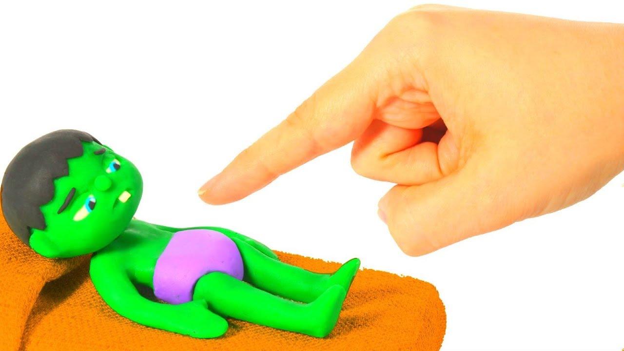 BABY HULK NEEDS HELP TO WAKE UP ❤ Spiderman, Hulk & Frozen Elsa Play Doh Cartoons For Kids