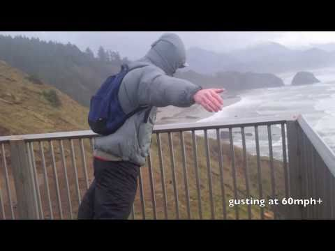 Standing In 80mph Wind Storm Oregon Coast Hurricane Force Winds - March 2011 Tsunami in Japan [HD]