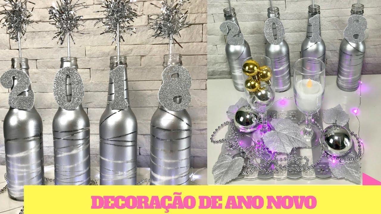 DIY 5 ideias FÁCEIS e BARATAS para decoraç u00e3o de ANO NOVO  -> Decoração De Ano Novo Simples E Barata