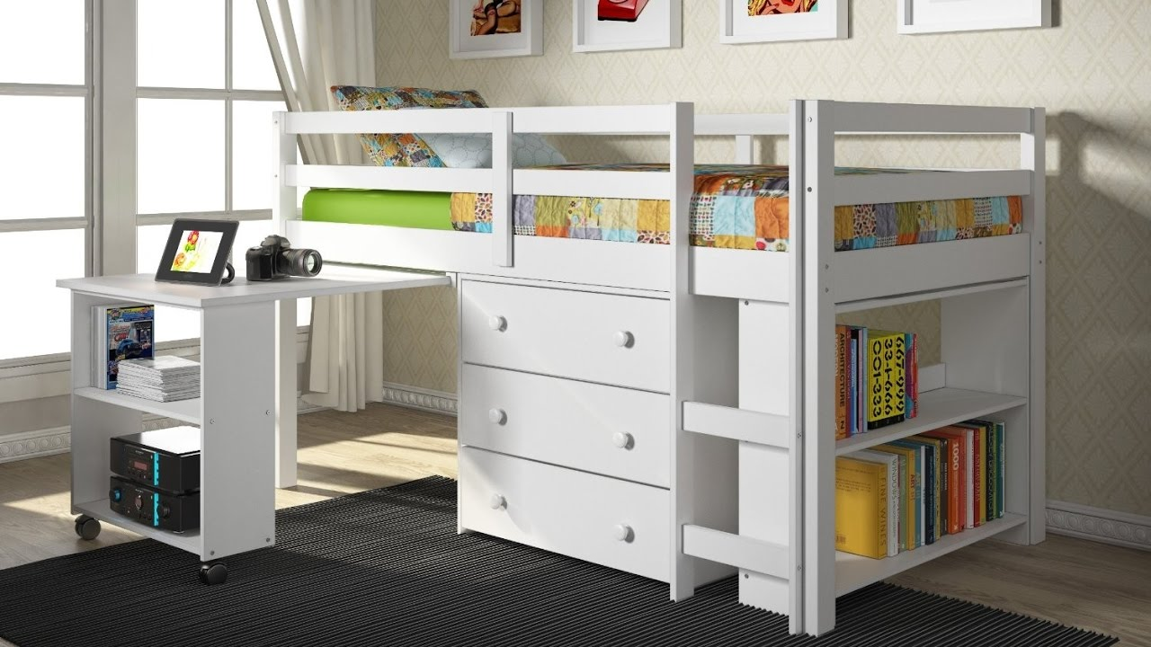 bedroom bunk beds with desk underneath for children. Black Bedroom Furniture Sets. Home Design Ideas