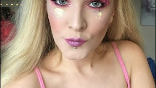 Bperfect Stacie Marie carnival palette makeup tutorial pink eyes and glitter tears