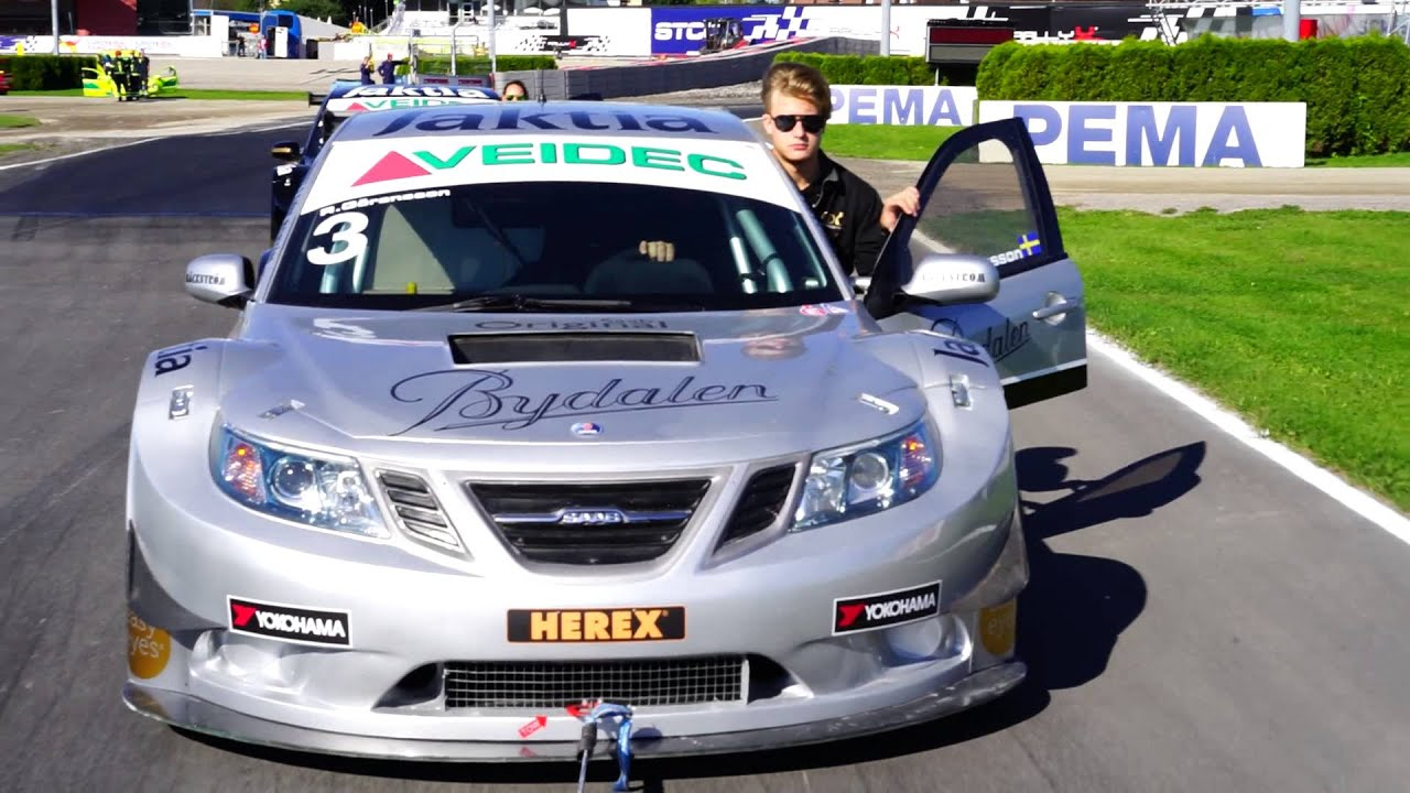 Towing Saab 9 3 Stcc Cars Around Solvalla Race Track Youtube