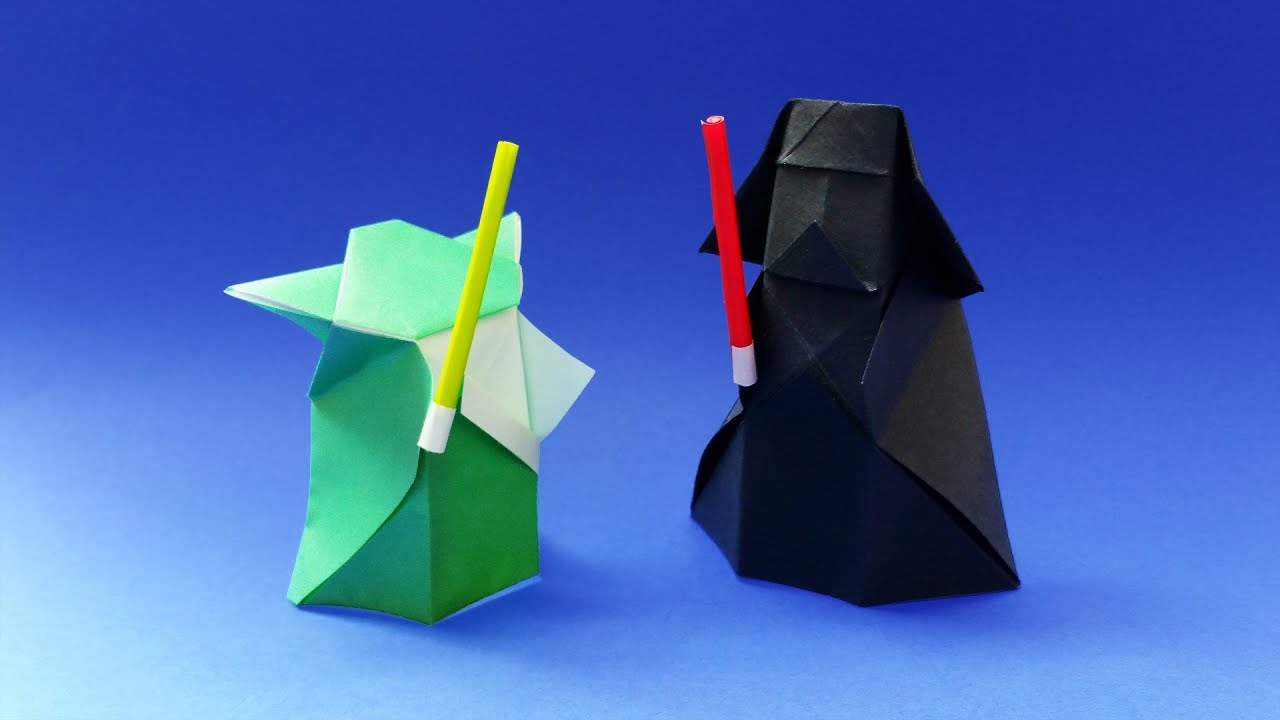 Origami Lightsaber For Yoda And Darth Vader Papertoys Star Wars