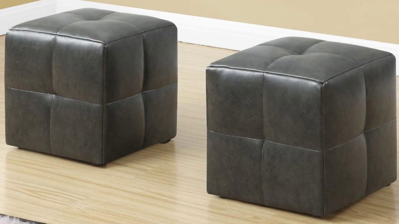 Grey Leather Ottoman Coffee Table Furniture Youtube
