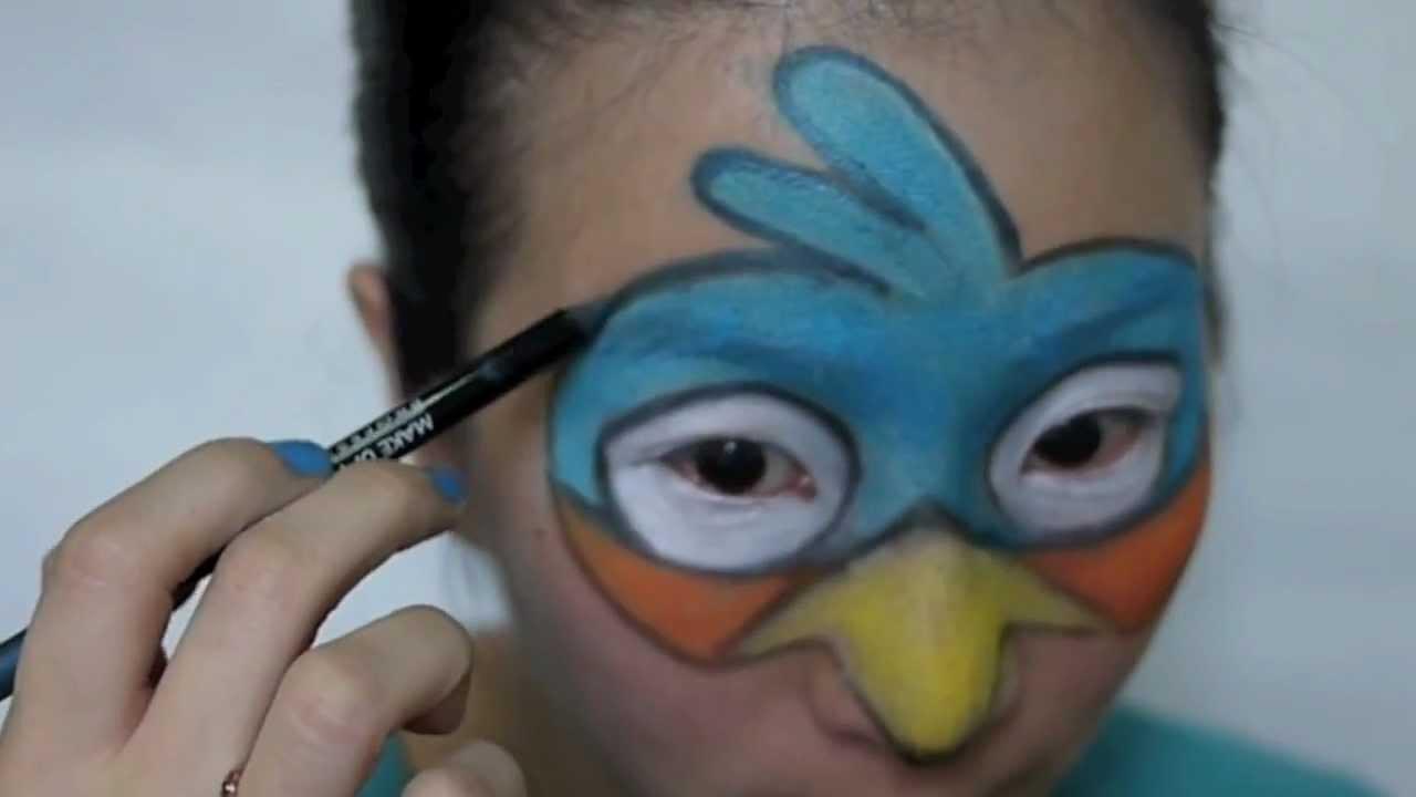 Blue Angry Bird Makeup - YouTube