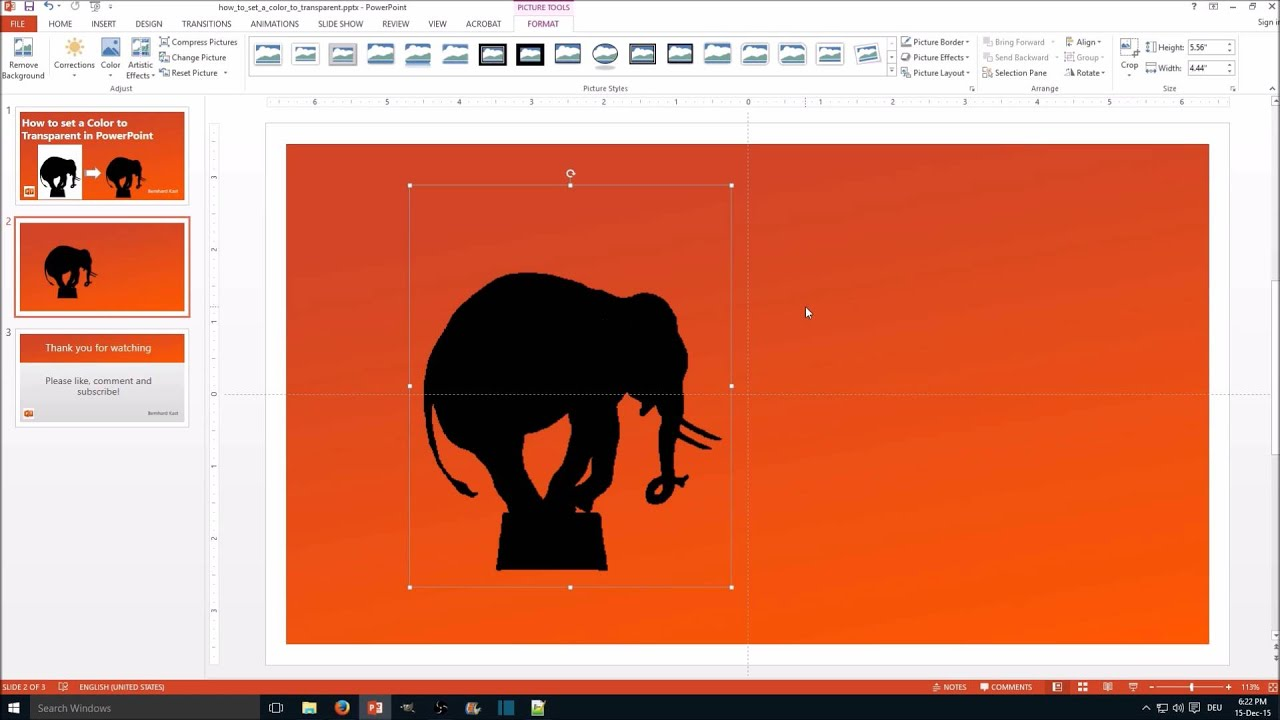How To Set A Color To Transparent In Powerpoint Youtube