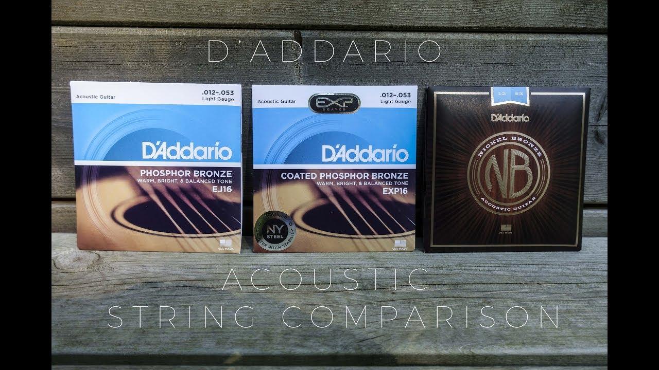 D Addario Acoustic Guitar String Comparison Ej16 Vs Exp16 Vs Nickel Bronze Youtube