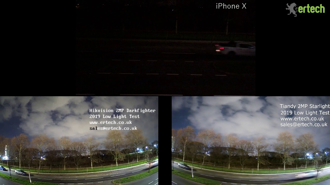 Hikvision VS Tiandy - Darkfighter VS Starlight VS iPhone Video Footage Test  Compare