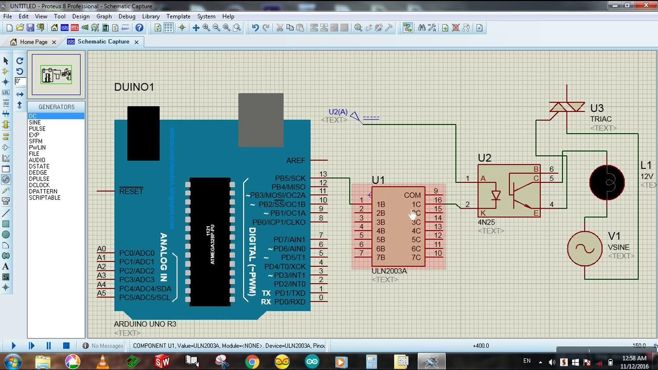 Opto Isolator And Triac To Arduino Simulation Proteus Circuit Tutorial 15