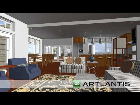 3D Rendering of Cape Cod Waterfront Custom Home Design by REEF Builders
