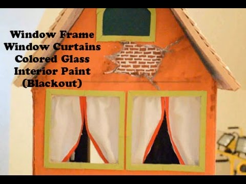 How to make a Miniature House Tutorial. (Part 4) 'Window Frames, Curtains, Colored Glass, Paint.