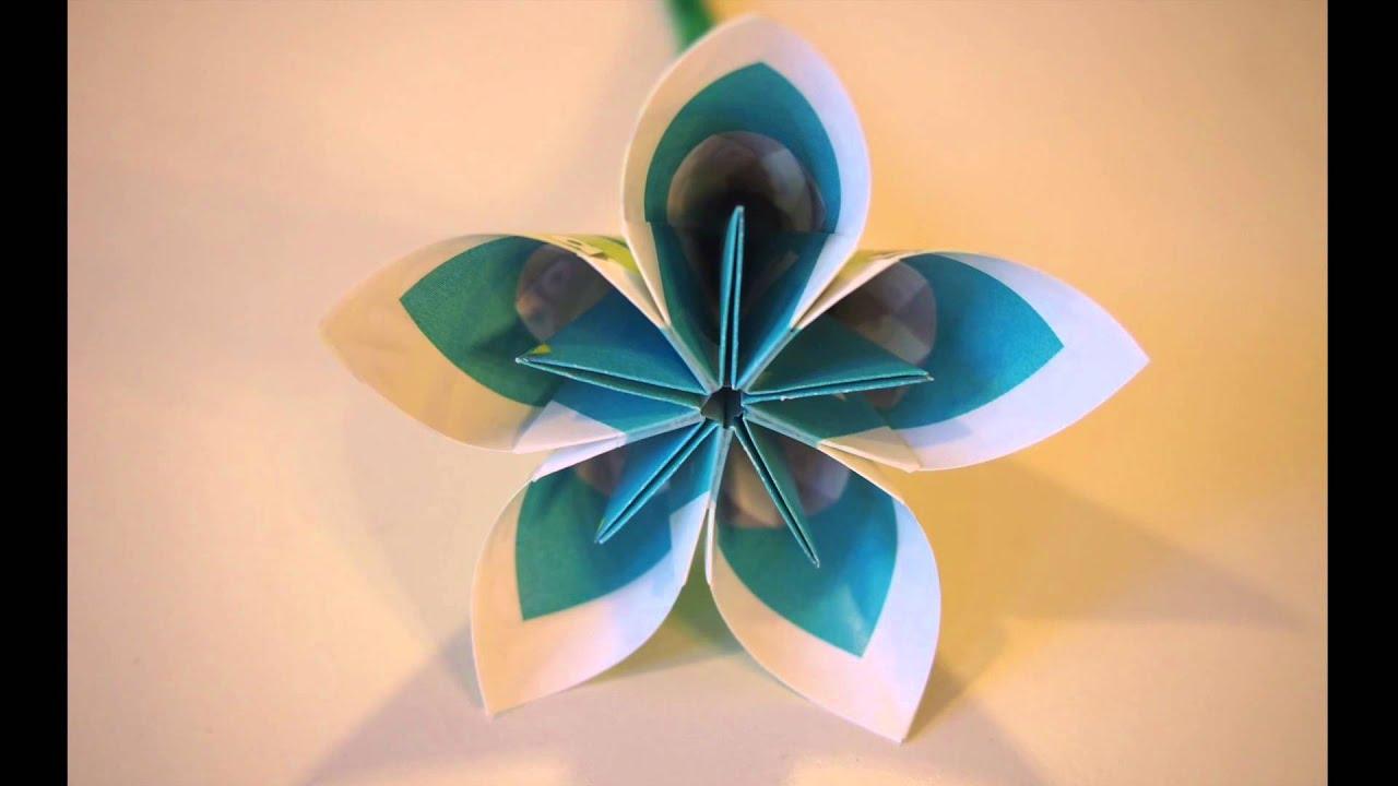 Origami Kusudama Flowers 004 Using Recycled Paper Youtube