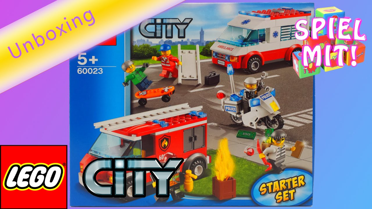 lego city polizei feuerwehr krankenwagen deutsch unboxing lego city starter set 60023 youtube. Black Bedroom Furniture Sets. Home Design Ideas