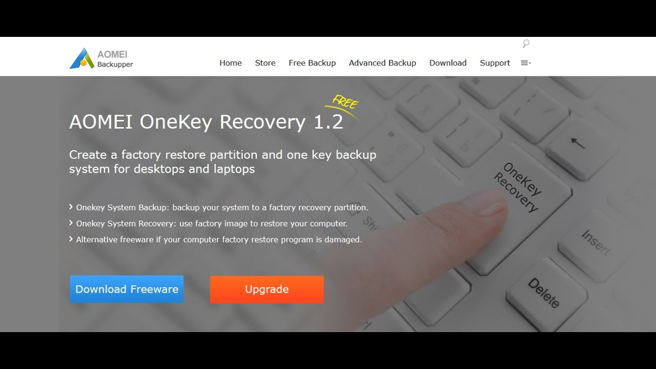 AOMEI Onekey Recovery - Create your own recovery partition for your  computer!