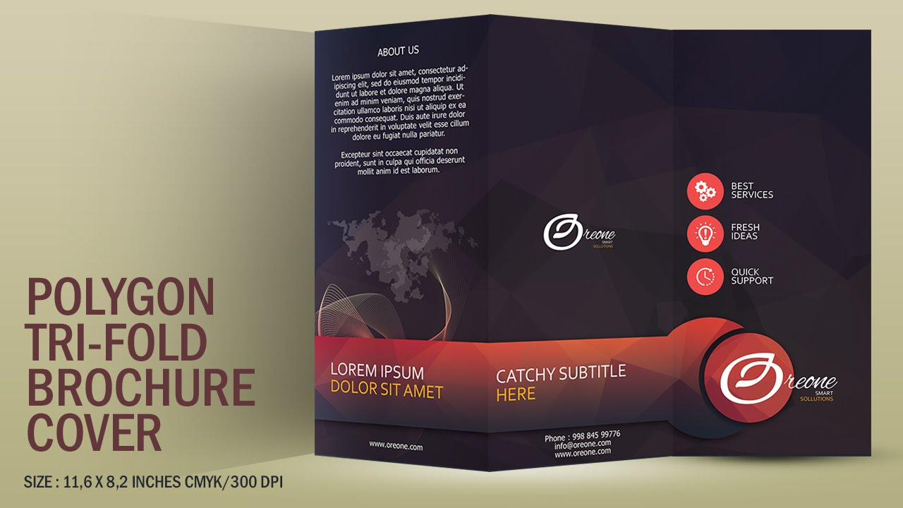 Design a polygon tri fold brochure cover photoshop for How to design a brochure in photoshop