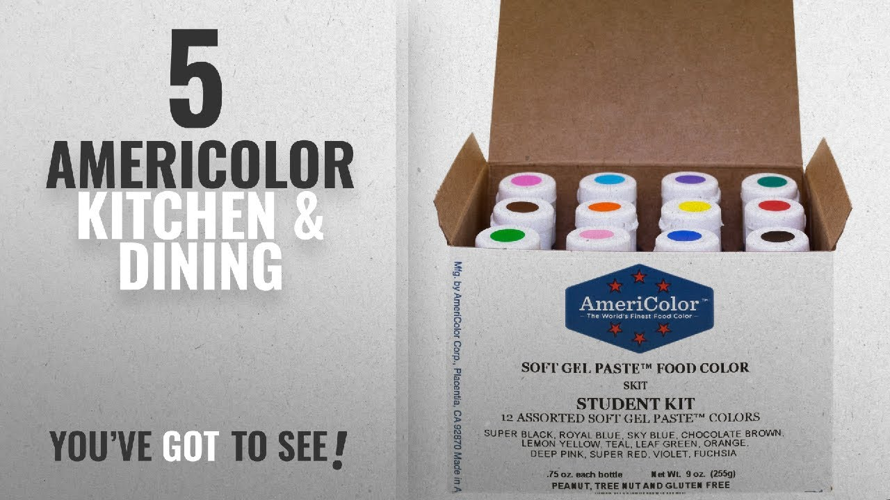 Americolor Top 10 Kitchen & Dining [2018]: Food Coloring AmeriColor Student  - Kit 12 .75 Ounce