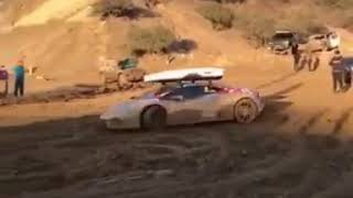 Lamborghini drifting in the dust