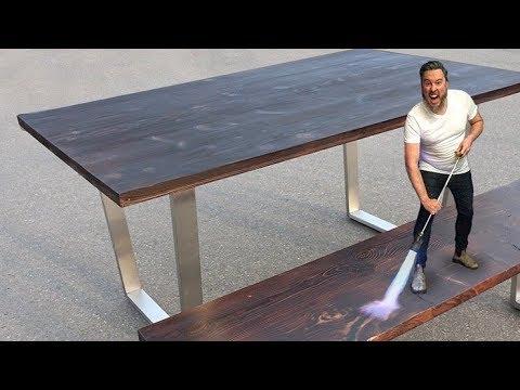 Rustic Reclaimed Table & Bench // DIY Shou Sugi Ban Wood Finish (2019)