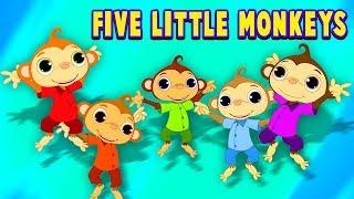 ห้าลิงน้อย | เพลงโรงเรียนอนุบาล | บทกวีสำหรับเด็ก | Five Little Monkeys | Baby Songs