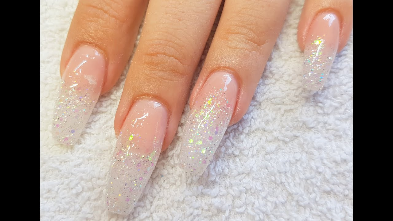 Acrylic nails nude acrylic rainbow glitter fade nail for Acrylic nail decoration